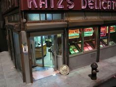 """Master miniature sculptor Alan Wolfson, """"Katz's Deli/Closing Time."""" The first major piece he's done since Canal St. Cross-Section, the miniature model is based on the famous deli that's known for its killer pastrami sandwich on New York's Lower Eastside. Imagine his Christmas village."""