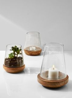 These tapered glass vases are very versatile and can be used for flower arrangements, holding candles and tea…