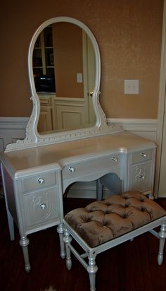 Early 1900u0027s Nicholson Kendle Vanity Set. New Mirror, Very Ornate Rebuilt  Bench. $575. Kansas City, MO | Heirloom Furniture Restoration And New |  Pinterest