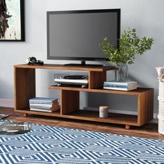 Wrought Studio Carrasco Solid Wood TV Stand for TVs up to 60 inches , Tv Stand Bookshelf, Tv Stand Sideboard, Console, Wooden Tv Stands, Solid Wood Tv Stand, Tv Unit Furniture, Home Furniture, Unique Tv Stands, Cool Tv Stands