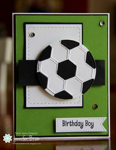 handmade birthdday card from Ladybug Designs ... luv her giant soccer ball made with heagon embossing folder ... fab card!