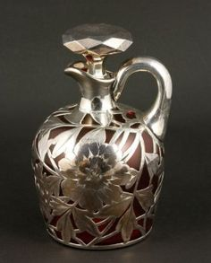 Sterling Overlay Glass Pitcher