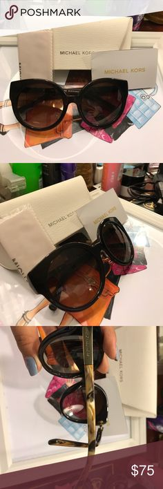 Michael Kors Brown Circle Sunglasses These actually look great on.  Hasn't  been worn. In perfect condition. Michael Kors Accessories Sunglasses
