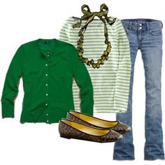 I love the color and the stripes. It can also go with bootcut jeans or even cropped jeans. -RLV