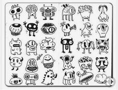 Afbeeldingsresultaat voor little monsters drawing Doodle Art Drawing, Doodle Sketch, Drawing Sketches, Doodle Monster, Monster Drawing, Cartoon Monsters, Cute Monsters, Cartoon Drawings, Easy Drawings