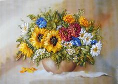 "Чудесная вышивка лентами ""Букет цветов, подсолнухи и циннии"" — работа дня на…"