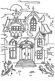 haunted house with sound of crow coloring page - Halloween House Coloring Pages