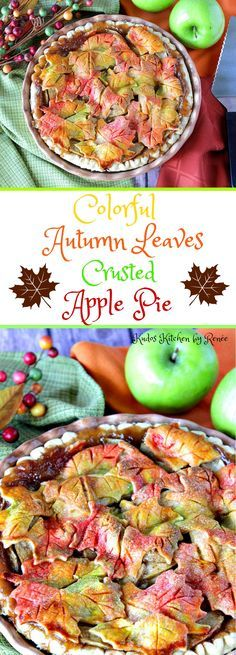 Delightfully Colorful Autumn Leaves Apple Pie with Video Presentation Apple Pie with Painted Autumn Leave Crust Apple Recipes, Fall Recipes, Holiday Recipes, Autumn Treats Recipes, Autumn Recipes Baking, Autumn Desserts, Pie Crust Designs, Fall Baking, Thanksgiving Recipes