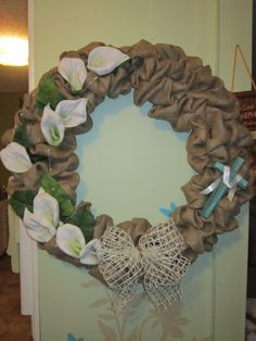 Easter burlap wreath created at the Cottage by DonElla Nielsen