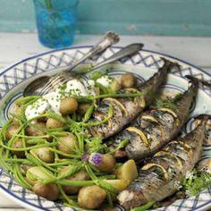 Grillad hel makrill med citron och oregano   Mitt kök Asparagus, Green Beans, Grilling, Food And Drink, Dinner, Vegetables, Sweden, Euro, Healthy Living
