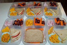 apple-peanut butter-honey quesadilla, Annie's cheddar bunnies, cheddar cheese slice, fresh deli ham, red grapes, carrot sticks