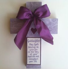 Wood Cross in purple and white for baptism by AnnaTereDesigns, $25.00