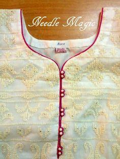 30 Stylish Potli button neck designs for kurtis and salwar suits Salwar Neck Patterns, Neck Patterns For Kurtis, Salwar Suit Neck Designs, Churidar Designs, Kurta Neck Design, Chudithar Neck Designs, Neck Designs For Suits, Sleeves Designs For Dresses, Neckline Designs