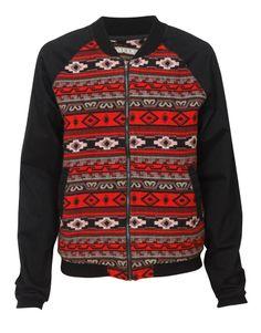 Aztec Print Panelled Bomber Jacket in Black € 17.48 #chiarafashion