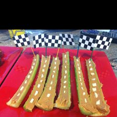 Race Track with a Checkered Flag finish line (celery & peanut butter)..I made these for Daytona 500