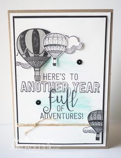 Masculine birthday card using Stampin Up Lift Me Up & Balloon Adventures stamp & die bundle from 2017 Occasions-Spring Catalogue. Card by Narelle for Just Add Ink #343 pop up-interactive challenge