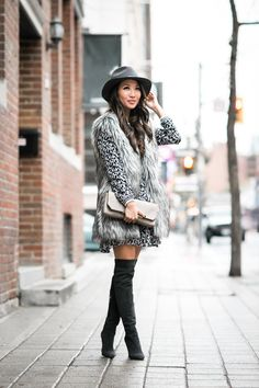 Toronto :: Tiered ruffle dress  Vest :: Joe Fresh faux fur vest Dress :: Joe Fresh tiered dress Bag :: J.Crew (old) Shoes :: Gianvito Rossi Accessories :: Rag & Bone hat