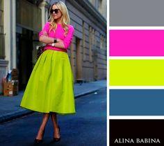 NEUTRALS: Black, Gray    ACCENTS: Hot Pink, Lime Green, Medium Blue
