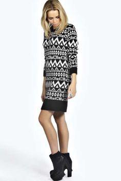 Royah Soft Laguna Knit Aztec Jumper Dress at boohoo.com