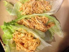 Healthy Chicken Lettuce Wraps-Yum! 3lb bag frozen chicken breast, I packet of ranch dip powder, and a bottle of Franks Red Hot sauce (I only used 1/2 bottle). Put frozen chicken in crockpot, put ranch powder on top, pour Franks on top. I let cook on low for 10 hours. Remove chicken, shred chicken with two forks. I strained the juice, then put the chicken & juice back in the crockpot.