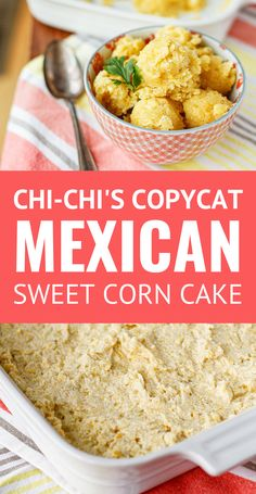Mexican Sweet Corn Cake (Chi-Chi's Copycat Recipe) -- this delicious Mexican sweet corn cake is a copycat of my favorite yummy side that used to be served at Chi-Chi's! Also known as pan de elote, this scoopable buttery corn cake straddles the line between a warm corn pudding and cornbread perfectly... #corncake #sweetcornbread #sweetcorncake #sweetcorn #sidedishrecipes #mexicancornbreadcasserole #mexicancornbread #mexicancornbreadrecipe #cincodemayo #cincodemayorecipes Sweet Corn Cakes, Sweet Corn Soup, Nachos, Chicken And Sweetcorn Soup, Hot Cocoa Recipe, Sweet Cornbread, Hot Dog Recipes, Side Dish Recipes, Side Dishes