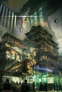 cyberpunk atmosphere in a futuristic city (concapt art by Feng Zhu) Cyberpunk City, Arte Cyberpunk, Futuristic City, Environment Concept, Environment Design, Fantasy World, Fantasy Art, Illustration Fantasy, Science Fiction Kunst