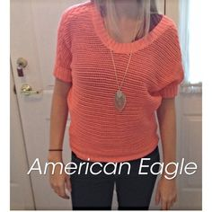 American Eagle knit neon coral sweater. Near new American Eagle knit sweater. Worn one time. American Eagle Outfitters Sweaters