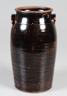 Stoneware Churn, Dark Brown Glaze