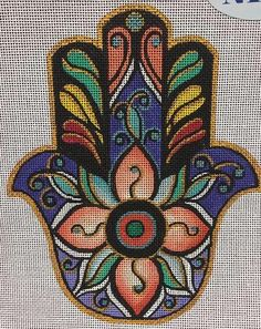 """Hamsa Tahitian"" painted canvas by Robbyn's Nest Designs Size: x Mesh Count: 18 Cross Stitch Needles, Cross Stitch Heart, Modern Cross Stitch, Needlepoint Designs, Needlepoint Kits, Needlepoint Canvases, Punch Needle Patterns, Cross Stitch Patterns, Hamsa Design"