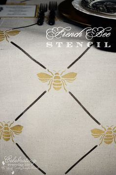 Bee Trellis Stencil French Bee Trellis Stencil from Royal Designs Studio. I love this design stenciled on a wall (see photos at link).French Bee Trellis Stencil from Royal Designs Studio. I love this design stenciled on a wall (see photos at link). Custom Stencils, Stencil Designs, Bee Stencil, Wallpaper Stencil, Drop Cloth Projects, Stenciled Table, Stenciled Floor, Do It Yourself Inspiration, Inspiration Wall