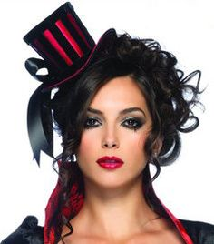 Steampunk Mini Black and Red Striped Satin Top Hat with Ribbon ** Details can be found by clicking on the image. (This is an affiliate link) Burlesque Outfit, Burlesque Corset, Burlesque Costumes, Dark Costumes, Western Costumes, Cabaret, Clown Maske, Top Hats For Women, Saloon Girls