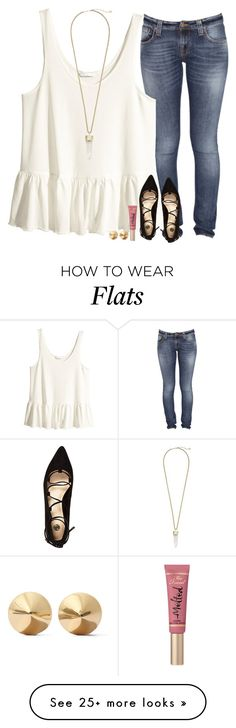 """""""When You're Crushing Really Hard, and When You See Him You Sort Of Hyperventilate."""" by evieleet on Polyvore featuring Nudie Jeans Co., H&M, River Island, Too Faced Cosmetics, Eddie Borgo, Kendra Scott, women's clothing, women's fashion, women and female"""
