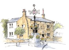 Fox & Hounds Bramhope in West Yorkshire ~ sketch ~ John Edwards