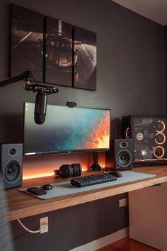 Computer Gaming Room, Computer Desk Setup, Gaming Room Setup, Pc Setup, Home Studio Setup, Home Office Setup, Home Office Design, House Design, Dream Desk