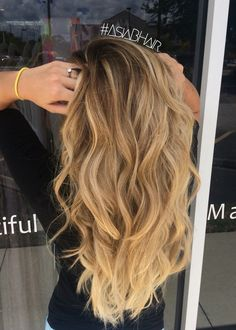Natural Balayage highlights #blonde #balayage #highlights #waves #ombre
