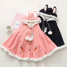 Kleidung Cute Bunny Carrot Cloak Coat Hoodie Why Aren't You Wearing Cufflinks To Add More St Harajuku Fashion, Kawaii Fashion, Lolita Fashion, Cute Fashion, Fashion Outfits, Fashion Styles, Top Mode, Mode Plus, Kawaii Clothes