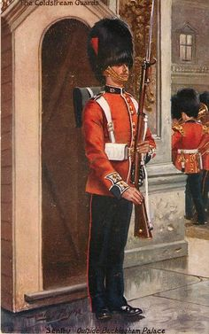 The Coldstream Guards, Sentry outside Buckingham Palace 1913 by Harry Payne British Army Uniform, British Uniforms, British Soldier, Military Art, Military History, Military Uniforms, Commonwealth, British Armed Forces, Royal Guard