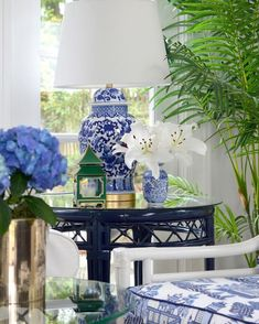 Chinoiserie is a perfect vehicle to add blue and white to your home. Asian-inspired details like the ginger jars and pagodas make this room a blue and white haven #ficksreed