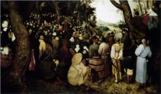 This is Pieter Breugel's The Sermon of St. John the Baptist (1566).  There seems to be a Jew, Roma, and Chinese person in the foreground, all turned away from the sermon.