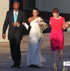 Alicia Keys escorted down the aisle by her parents wore an ivory silk Grecian inspired custom made Vera Wang gown with jewel detail on the back shoulder and diamond head piece...(Celebrity Wedding- Alicia Keys ~ Wedding Bells)