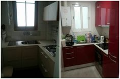 My red kitchen Before&After Colourful home design ideas and shopping tips from a Barcelona-based blogger. #cocina #interiorismo