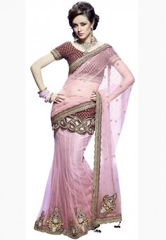 """Click on image to zoom or click to enlarge Light Pink Net Designer Saree Designed with Zari, Stone, Dangler, Sequence, Bead, Cut Patch Border   INR:-9310 Only (With Discount 25% !! Use Coupon Code """"FLAT 25″ To Avail The Discount)"""