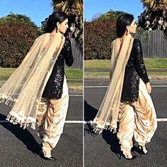 * Type: Patiala Suit * Top : Un-Stitched * Top Fabric : Georgette * Top Color : Black * Top Size : * Bottom: Un-Stitched * Bottom Fabric: Santoon * Bottom Color: Chiku * Bottom Size : * Dupatta Fabric : Georgette * Dupatta Color : Indian Designer Suits, Indian Suits, Indian Dresses, Indian Wear, Punjabi Dress, Punjabi Suits, Pakistani Dress Design, Pakistani Outfits, Punjabi Fashion