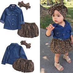 6e5b672f1176 Baby Girl Toddler Kids Denim Tops+Leopard Culotte Skirt Outfits Children  Girl Clothing Sets.