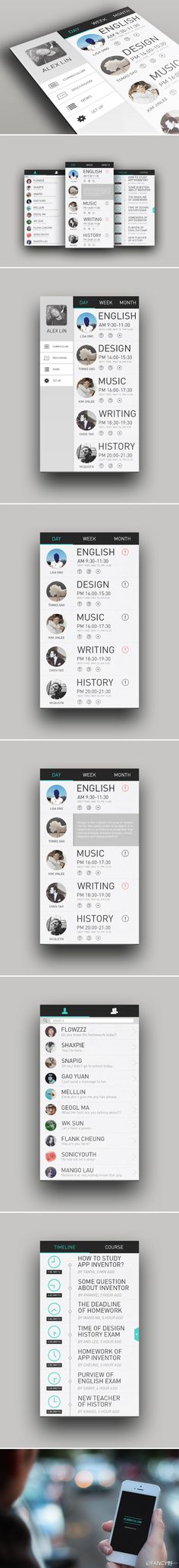 Concept for Activity page.  I like the look of the day, week, month 'buttons'. Also the very slim search bar.