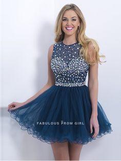 A-line Bateau   Rhinestone Sleeveless Short / Mini  Tulle  Cocktail Dresses / Homecoming Dresses