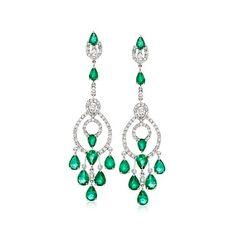 Santa Baby... PLEASE!   9.75 ct. t.w. Emerald and 1.95 ct. t.w. Diamond Chandelier Earrings in 18kt White Gold