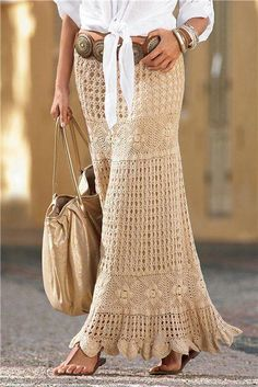 "Crocheted maxi-skirt - Wowza!  The concho belt adds enough youthful edge to keep it from looking too ""granny-fied"".  ;-)"