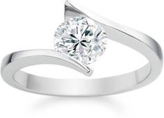 RM Jewellers 92.5 Solitaire Silver Cubic Zirconia Platinum Ring
