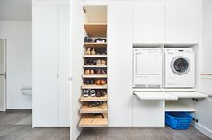 Slide-out folding shelf Pantry Laundry Room, Small Laundry Rooms, Laundry Room Storage, Laundry In Bathroom, Storage Room, Storage Spaces, Scullery Ideas, Laundry Room Inspiration, Kitchen Dinning